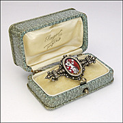 French Circa 1880 Silver Enamel Seed Pearl Pin - Boxed