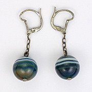 French Art Deco Silver Agate Ball Drops - Pierced Ears
