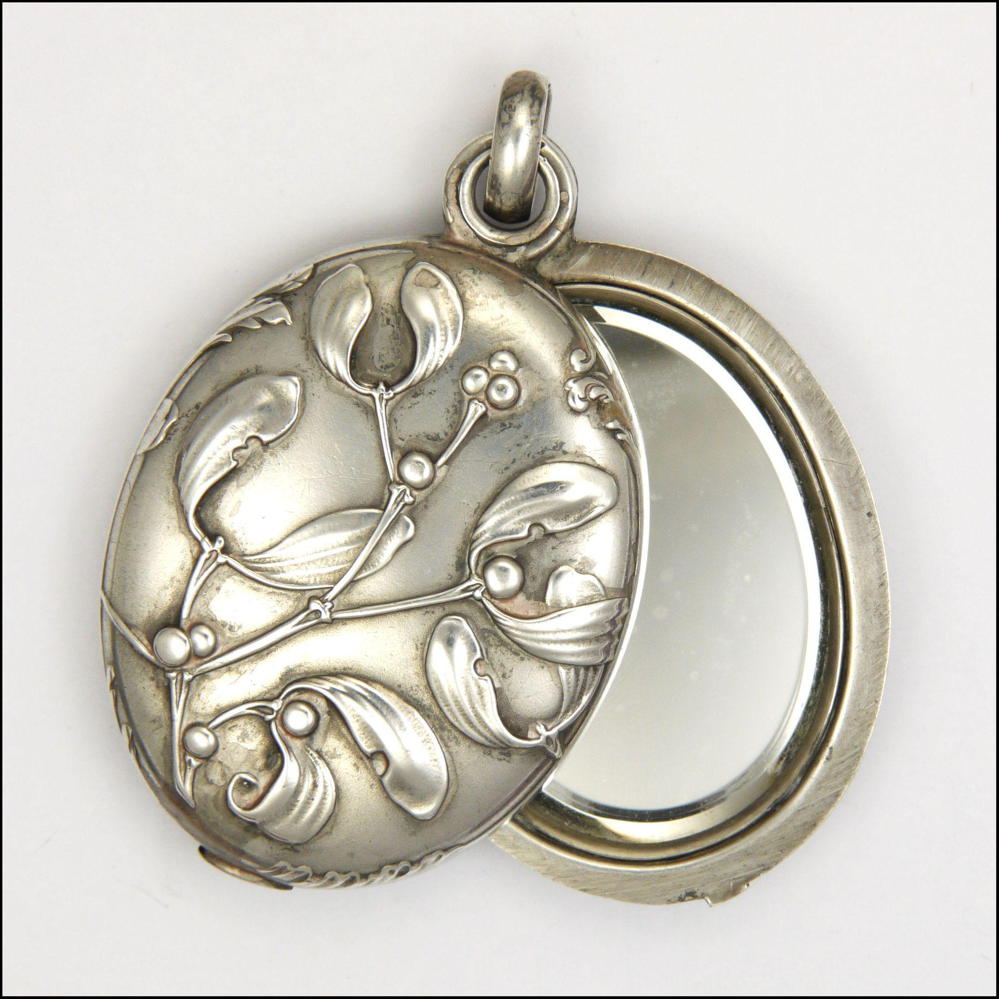 French Art Nouveau Silver Mistletoe Mirror Slide Pendant