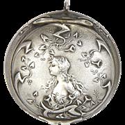 French Art Nouveau Silver Compact Poudrier