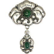Danish Arts and Crafts Skønvirke Silver and Agate Pin