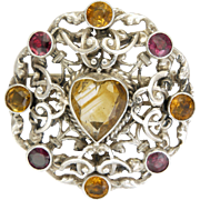 English Arts and Crafts Silver Citrine and Garnet Pin - ZOLTAN WHITE