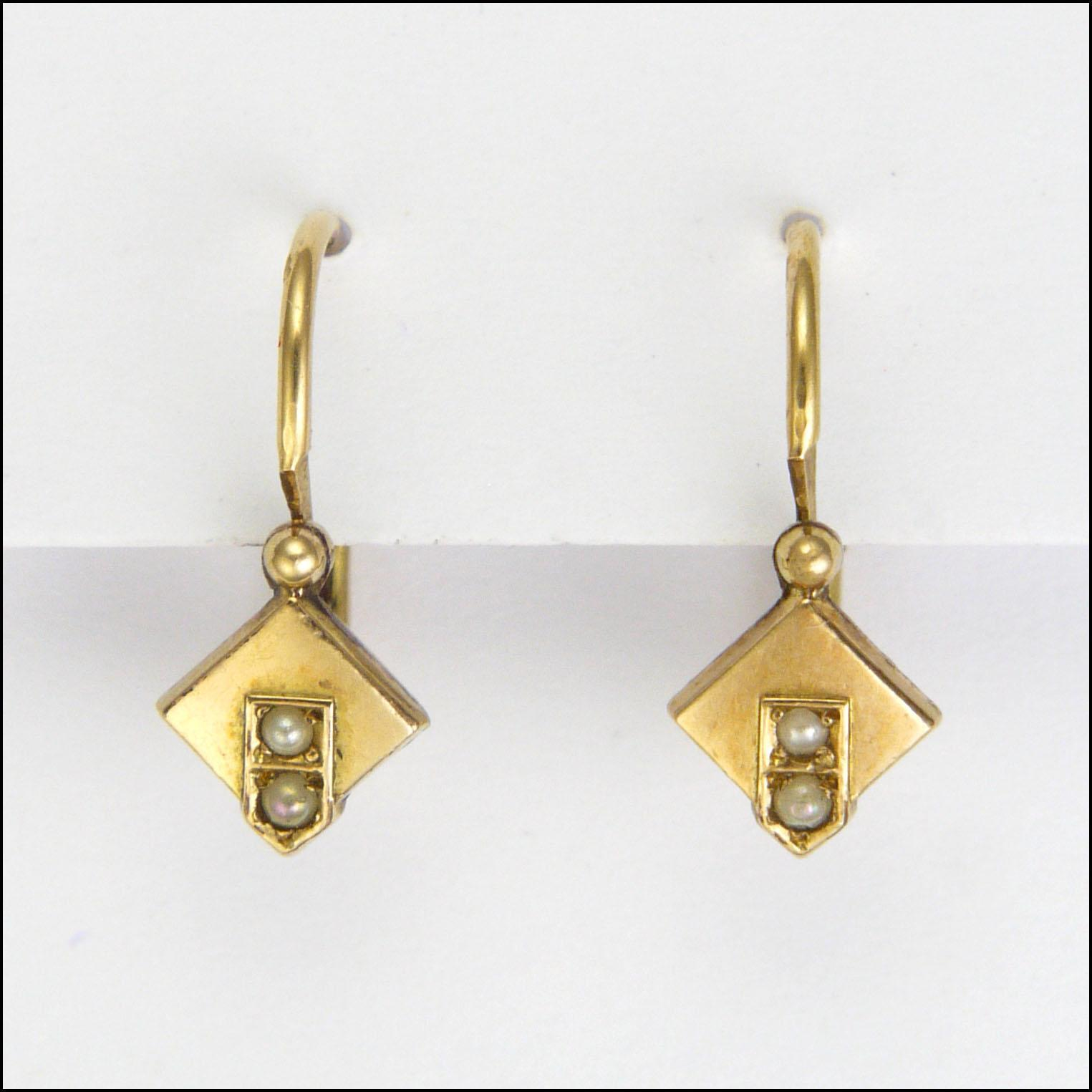 French Deco Gold Filled Fix Lever Back Earrings