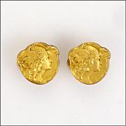 A Pair of French Art Nouveau Gold Filled Goddess Collar Studs - BECKER
