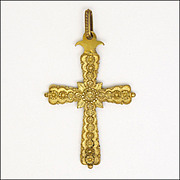 French Early Victorian 'Pinchbeck' Decorative Cross Pendant