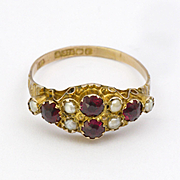 English Victorian 9k Gold Garnet and Pearl Ring