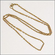 "Edwardian 9K Gold 'Station' Chain Necklace - 18¼"" - 5.1 grams"