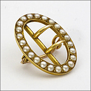 English Victorian 15K Gold and Seed Pearl Buckle Pin