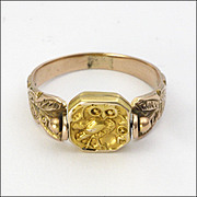Victorian 9K Gold  Owl Engraved Spinner Ring from Grand Tour