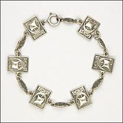 English Chester Hallmark Viking Ship Silver Bracelet - S & Co