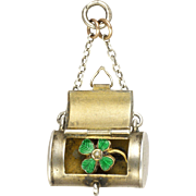 Art Deco Silver and Enamel Four Leaf Clover Purse Charm