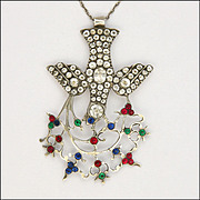 Victorian French Saint Esprit Silver with Rock Crystal and Paste Stones