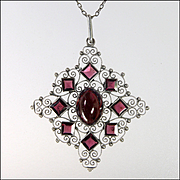 Victorian Scandinavian Garnet and Silver Necklace
