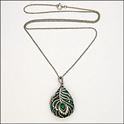 Peacock's Eye Silver Tone Metal Enamel and Paste Locket Necklace