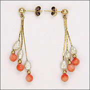 9k Gold Coral and Freshwater Pearl Drop Earrings - Pierced Ears
