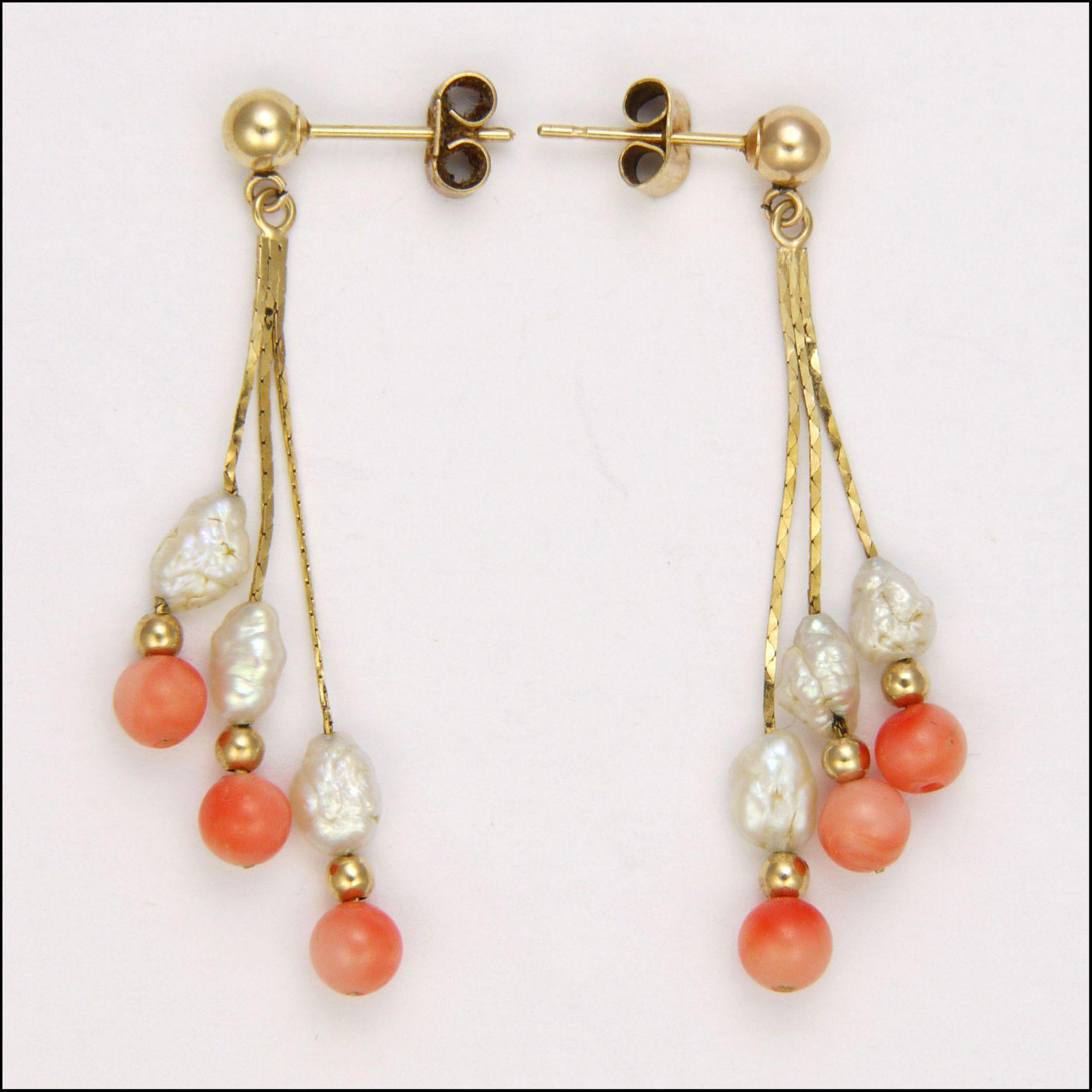 9k Gold Coral and Freshwater Pearl Drop Earrings - Pierced Ears from ...