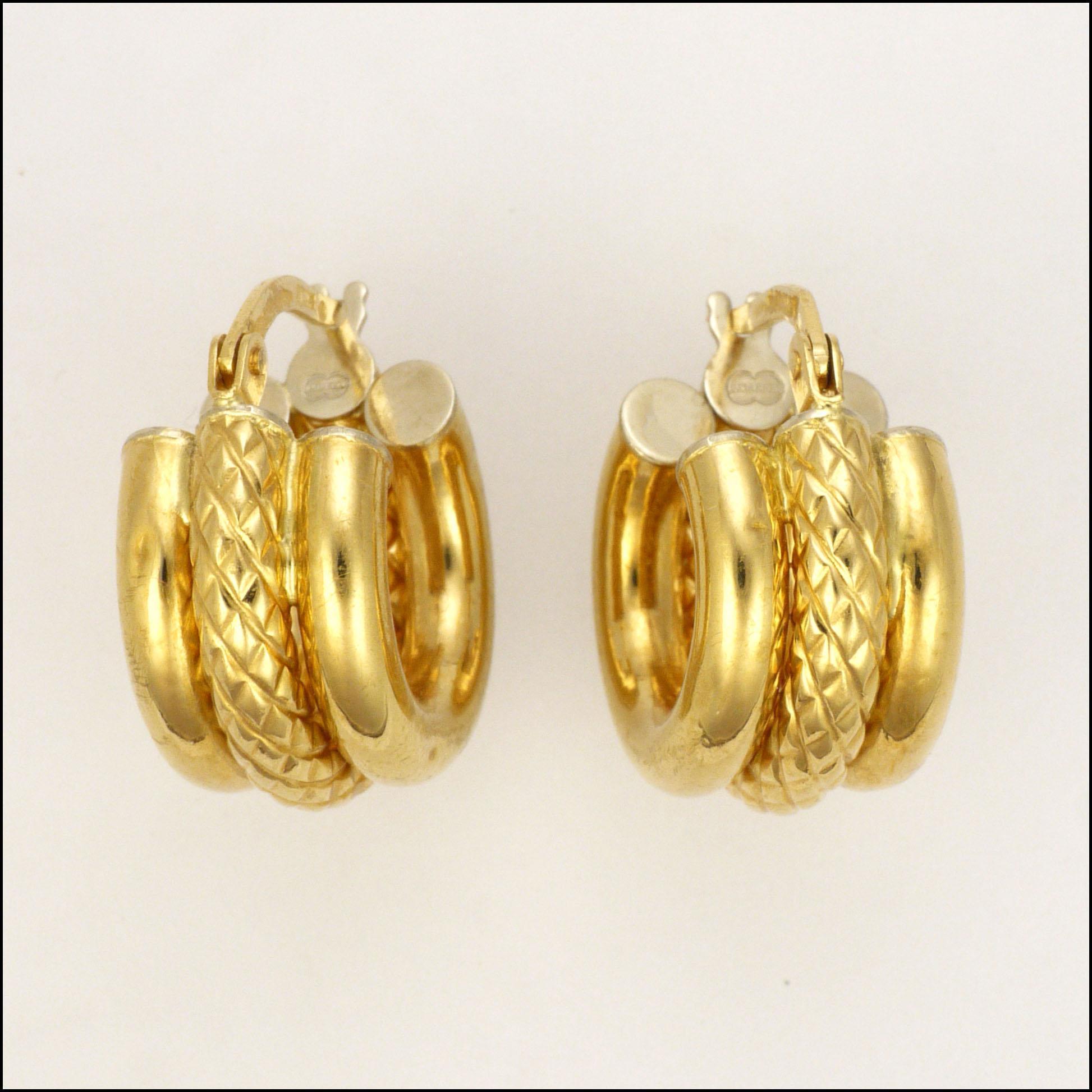 Italian 18 Carat Gold Hoop Earrings Pierced Ears Suzy Lemay