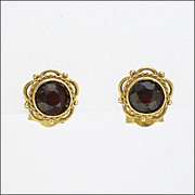 9K Gold and Garnet Small Dainty Earrings for Pierced Ears