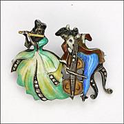 German Silver Enamel Musician Couple Pin