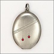 Jugendstil or Art Nouveau 800 Silver and Pastes Locket