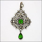 French Circa 1900 Silver and Pastes Pendant