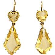 9k Gold and Citrine Drop Earrings for Pierced Ears