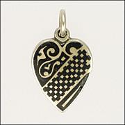 Victorian Silver Niello Heart Pendant or Charm