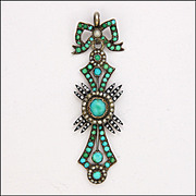 French Victorian Turquoise, Pearl and Enamel Pendant