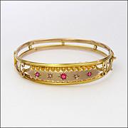 English 1905 9 Carat Gold Ruby Pastes & Diamonds Bangle Boxed