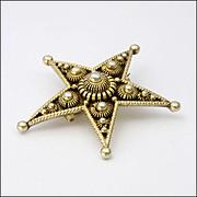Antique Norwegian Silver Gilt Star Pin