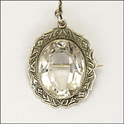 Antique Circa 1910 Engraved Silver Rock Crystal Pin