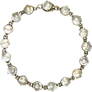 European Arts and Crafts Silver and Mabe Pearl Bracelet