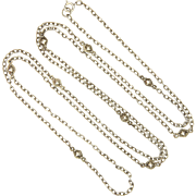 "French Antique Silver Decorative Guard Chain - 55"" -29.1 grams"