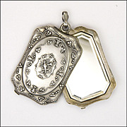 French Victorian Large Silver Mirror Slide Pendant