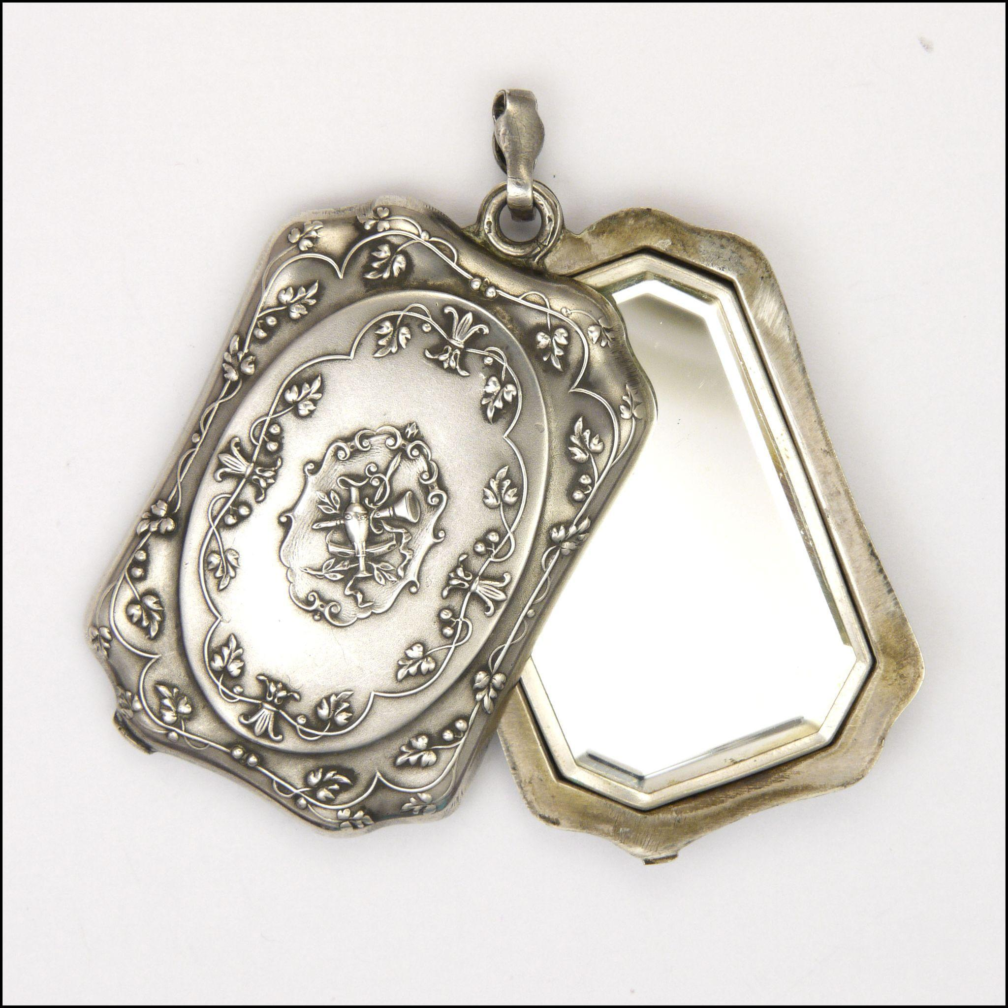 French victorian large silver mirror slide pendant from for Large silver mirror