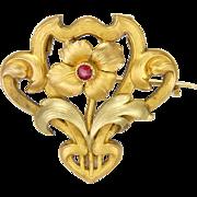 French Art Nouveau 18k Gold Filled Gemstone Flower Pin/Pendant - TITRE FIXE
