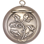 French Art Nouveau Silver Holly Compact Pendant