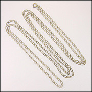 """French Antique Silver Guard Chain - 57"""" - 13.7 grams"""