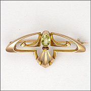 English Art Nouveau 9K Rose Gold and Peridot Pin