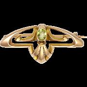 English Art Nouveau 9K Rose Gold and Peridot Pin