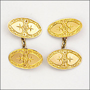 English 1916 9k Gold Heart Design Cufflinks - John Aitkin and Sons