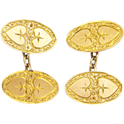 English 1916 9k Gold Heart Design Cufflinks - John Aitkin and Sons - Red Tag Sale Item
