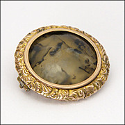 Victorian 9K Gold and Moss Agate Pin