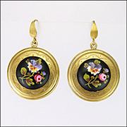 Victorian Large Silver Gilt Painted Ceramic Earrings - Pierced Ears