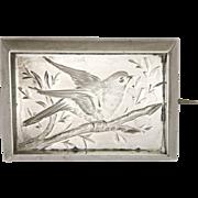 Victorian Silver Aesthetic Period Engraved Bird Pin