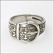 Antique Circa 1910 Sterling Silver Ferns and Flowers Buckle Ring
