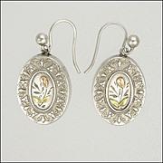 Victorian Silver Gold Tipped Earrings - Pierced Ears