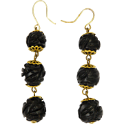 Victorian Whitby Jet Bead Drop Earrings