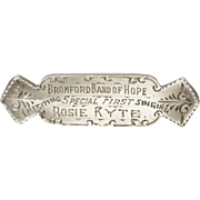 English Victorian 1895 Silver 'Band of Hope' Pin - W.C.M