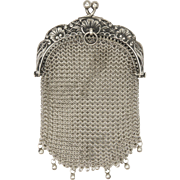 French 19C Silver Mesh Purse - Floral Motifs